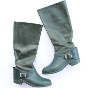 Cole Haan Dorian Green Riding Rain Knee Boots 8
